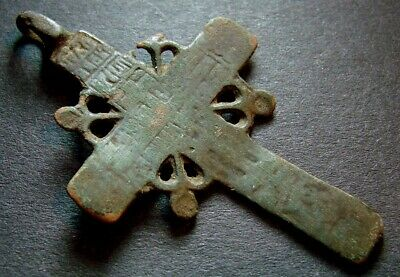 ANCIENT BRONZE CROSS RARE. RELIGIOUS ARTIFACT 17 CENTURY. 47 mm. (R.008)