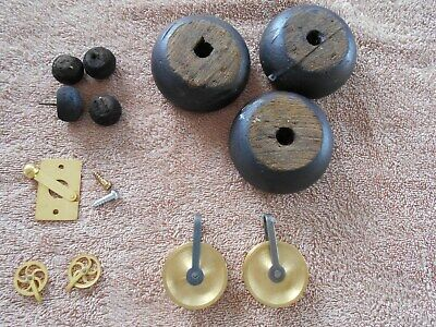 Miscellaneous Clock Parts: Pulleys, Wooden Feet, Howard Type Latch