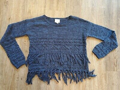 justice for girls size 10 navy blue shimmer sweater top shirt EUC ships $0 fall