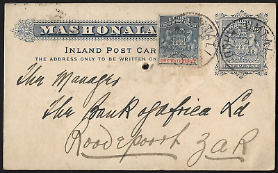 South Africa 1897 BSAC to Roodepoort Mashonaland Inland Post Card
