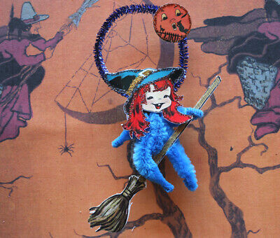 Chenille Halloween Ornament ~Witch on Broom ~Glittered Vintage Image