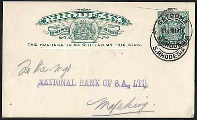 Rhodesia 1917 BSAC Arms ½d Gatooma CNS Post Card
