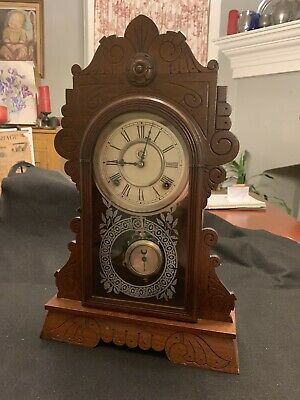 Antique Waterbury Clock Co Gingerbread Mantle Clock Unusual Pendulum