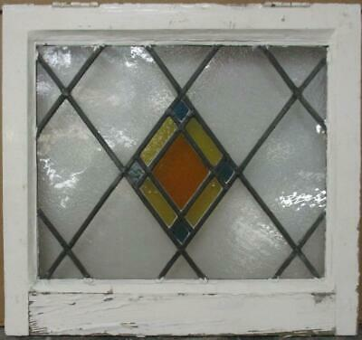 "OLD ENGLISH LEADED STAINED GLASS WINDOW Pretty Diamond Lead 19.75"" x 18.25"""