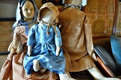 Primitive Handmade Folk-Art Cloth Doll 17""