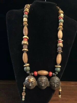 Chinese Antique Tibetan style beeswax gemstone necklace jewelry D