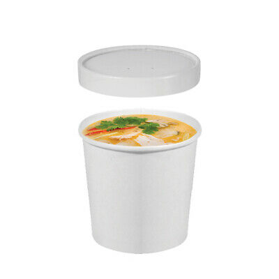 250x Food Cup with Lid 12oz / 354mL White Disposable Hot Cold Container Takeaway