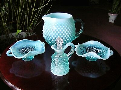 LOT ViNTaGe FENTON BLuE OpaLeSceNT HobNaiL GLaSs Pitcher Jug Cruet Stopper Dish