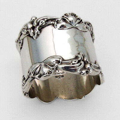 Floral Ornate Heavy Weight Napkin Ring Gorham Sterling Silver