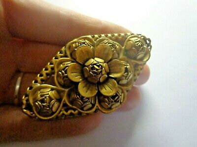Antique Victorian Art Nouveau Flower Ornate Large Brooch 2 3/4 In
