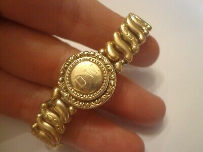 Antique Art Deco expandable sweetheart bracelet sterling silver w/gold overlay