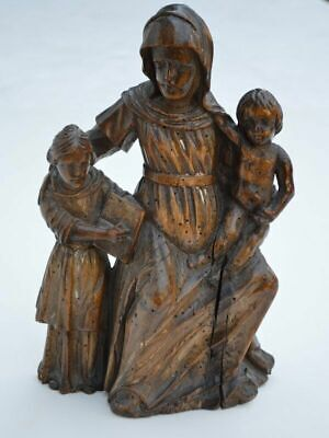 Antique 17th Century Italian Carved Wood Carving Of Woman And Children