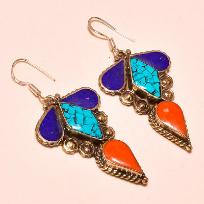 Lovely Lapis Lazuli With Red Coral & Turquoise Nepali Earring S-2.50''