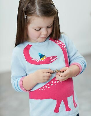 Joules Girls Bronty Knitted Jumper 1 6 Years in LIGHT BLUE DINO