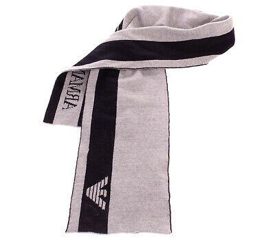 ARMANI JUNIOR Stole Scarf Wool Blend Two Tone Knitted Logo Detail