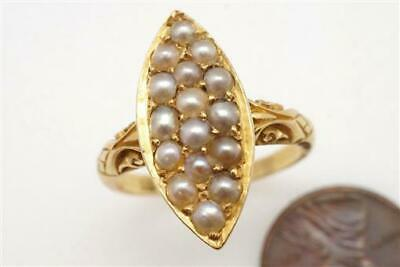 PRETTY ANTIQUE LATE VICTORIAN ENGLISH 18K GOLD PEARL NAVETTE RING c1900