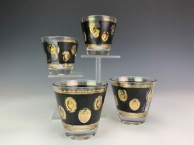G. Reeves Mid Century Modern MCM Set Of Four Barware Tumbler Gold Accent Glasses