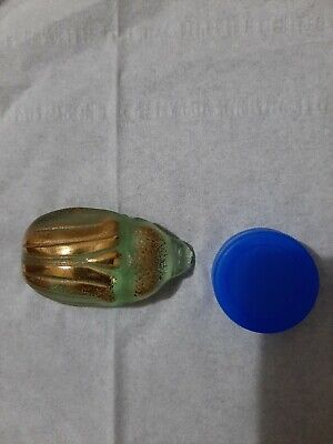 One Green & Gilt genuine Lalique art glass scarab, flawless condition
