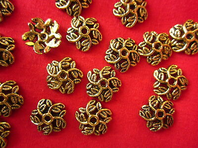 30 Antique Gold Coloured 10mm Leafy Bead Caps #bc524 Jewellery Making Craft