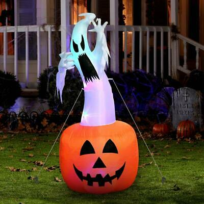 6ft Halloween Inflatable Blow Up Ghost Pumpkin Color Changing LED Outdoor Decor