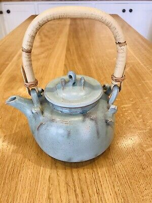 Vintage Stoneware Blue Charmouth Studio Pottery Tea Pot - Immaculate! Stamped.