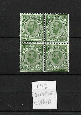 GB 1912 Downey Head, MNH/MM 1/2d block of four. wmk Simple Cypher Die B (4605)