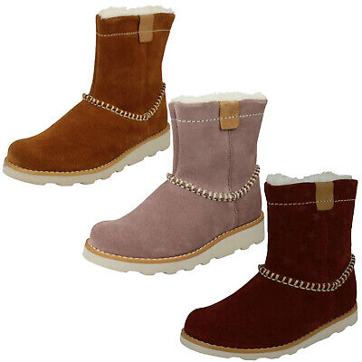 Girls Kids Toddler Clarks Crown Piper Zip Casual Junior Warm Winter Boots Size