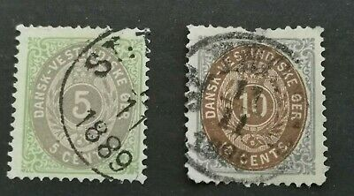 Danish West Indies - 1873  - 5c - brown and green & 10c - brown and blue used