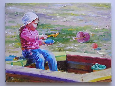Original Oil Stretched Painting Girl Child Portrait Art By Artist