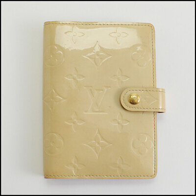 RDC10331 Authentic Louis Vuitton Beige Vernis Monogram 6 Ring Agenda Cover