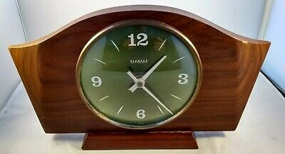 Vintage Kienzle Automatic Wood Wooden Mantel clock Battery Operated Green Face