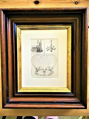 Vntg Hot Air Balloon Book Plate Print in Antique Ogee Walnut Layered Frame