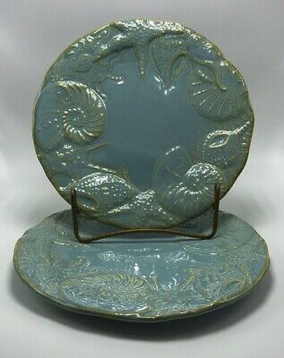 """Cindy Crawford   Seafoam Green  8""""  Salad Plates (2) Excellent Condition"""