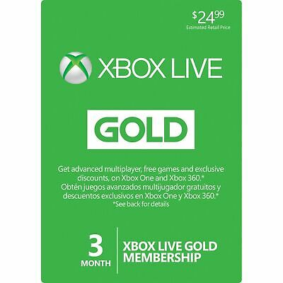 3 Month Xbox Live Gold Membership Card (Xbox One/360) Digital Delivery ONLY