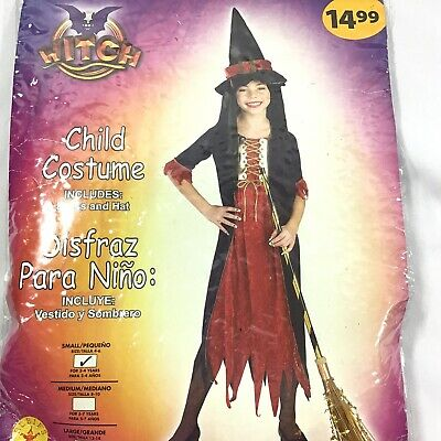 Witch Halloween Costume Girls S(4-6) *For 3-4 yrs old  Dress Hat