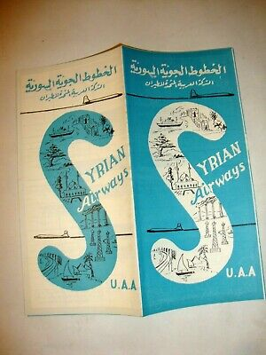 Syrian Airways U.a.a Union Arabe Airlines Timetable.