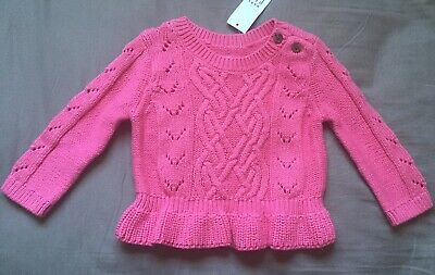 Baby Girl 3-6 Month Baby Gap Pink Cable Knit Peplum Sweater