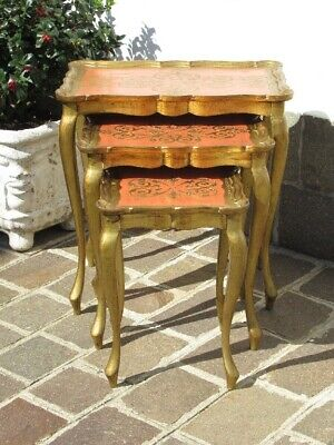 Antique Trio of Coffee Tables Removable Golden Engraved Period Xx Century