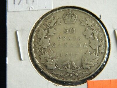 1917 Canada Sterling Silver 50 Cent Piece-11.66 Grams Sterling Silver--19-503