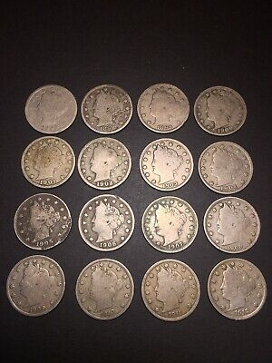 Us Coin Lot V Nickels 1897-1912 Running Years 16 Coins Collection Filler Lot NR