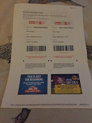 2 X ALTON TOWERS E-TICKETS Friday  27th SEPTEMBER 2019