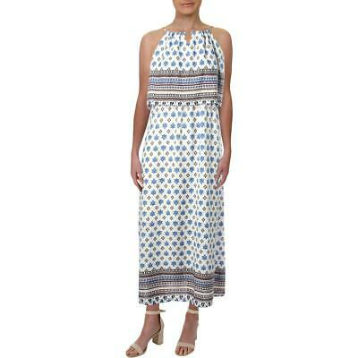 Aqua Womens White Off-The-Shoulder Printed Day to Night Maxi Dress L BHFO 2122