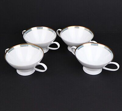 Rosenthal China Germany Blue Gala 2 Handle Cream Soup Bowls Set of 4