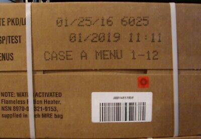 Military MRE's,  2019 Inspection A  Case, New Unopened.