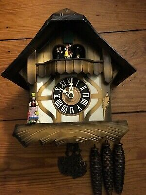 "Vintage German Musical Cuckoo Clock With Dancers 3 Weights 10 1/2"" Tall"