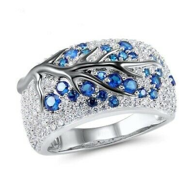 Women's Vivid Finger Ring Blue Sapphire Gems Inlaid Silver Engagement Jewelry