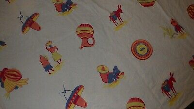 "Vintage Tablecloth Mexican Theme Fiesta Go Along Mid Century Kitchen 48"" x 48"""