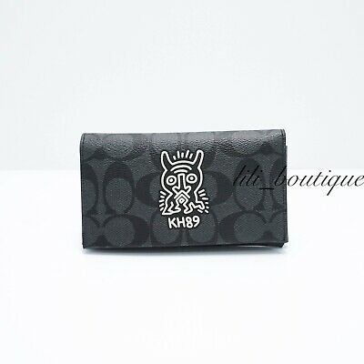 NWT Coach F67628 Universal Phone Case Keith Haring Canvas Charcoal Black White