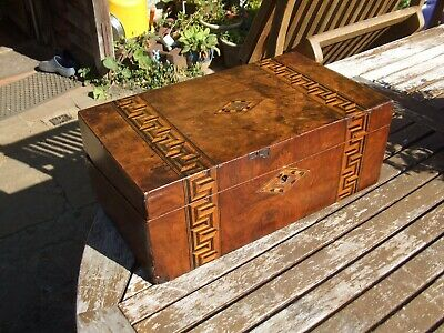 ANTIQUE BURR WALNUT INLAID WRITING  SLOPE great colours and patina