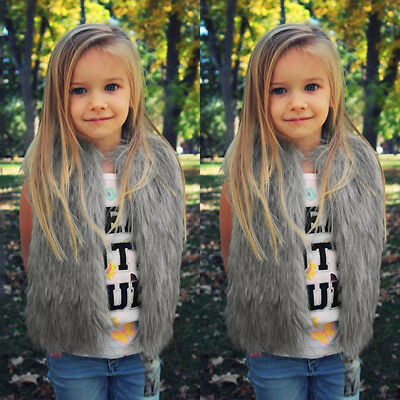 Baby Girls Kid Winter Faux Fur Waist Gilet Jacket Outwear Vest Coat Waistcoat AE